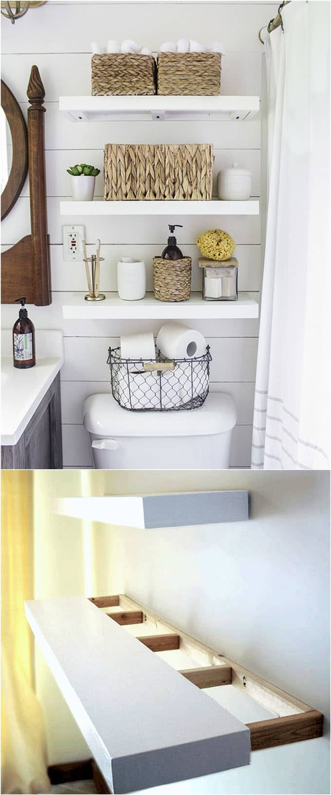 bathroom floating shelves and wall shelves