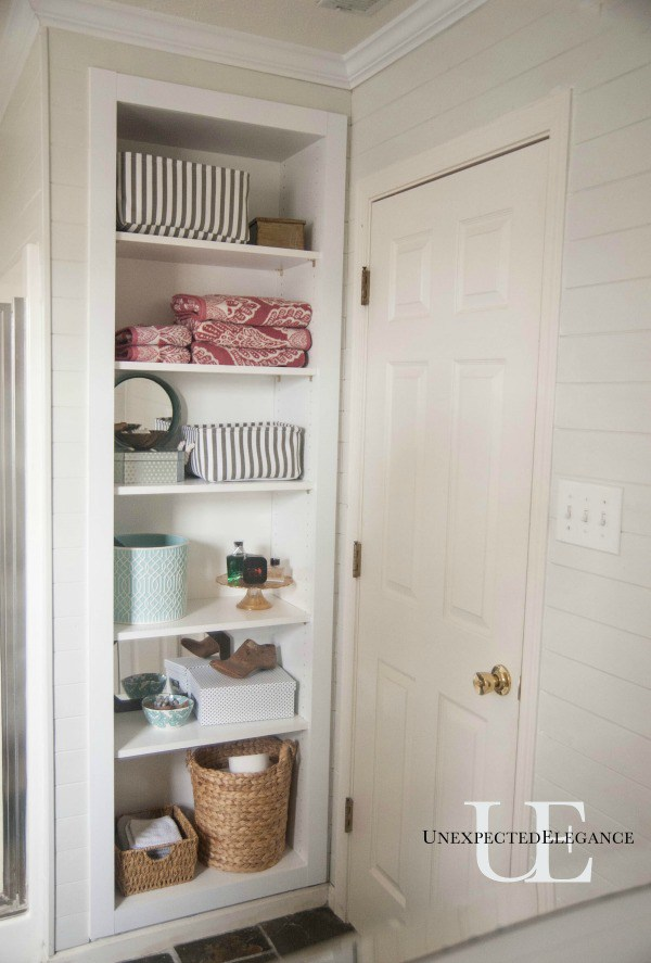 Diy built in bathroom shelving storage