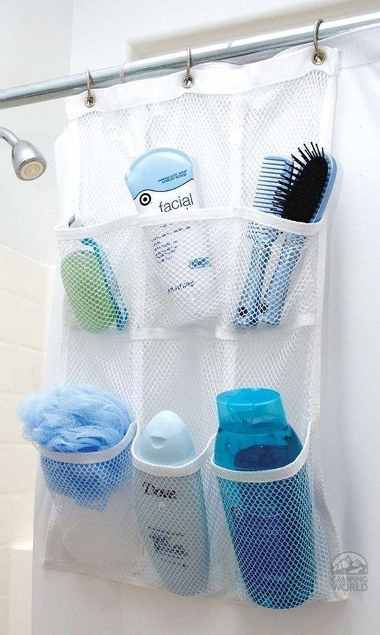Mesh organizer inside shower
