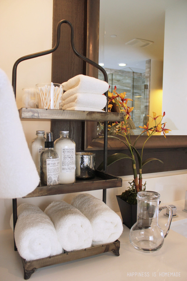 Tiered bathroom storage shelf