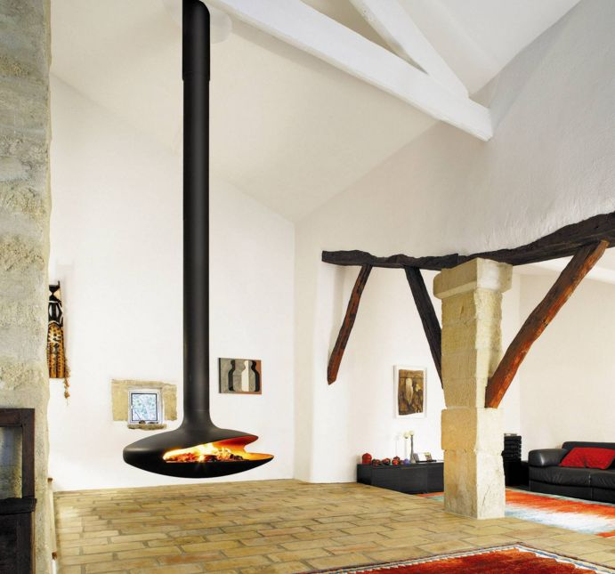 Exposed beams decor and Gyrofocus Fireplace