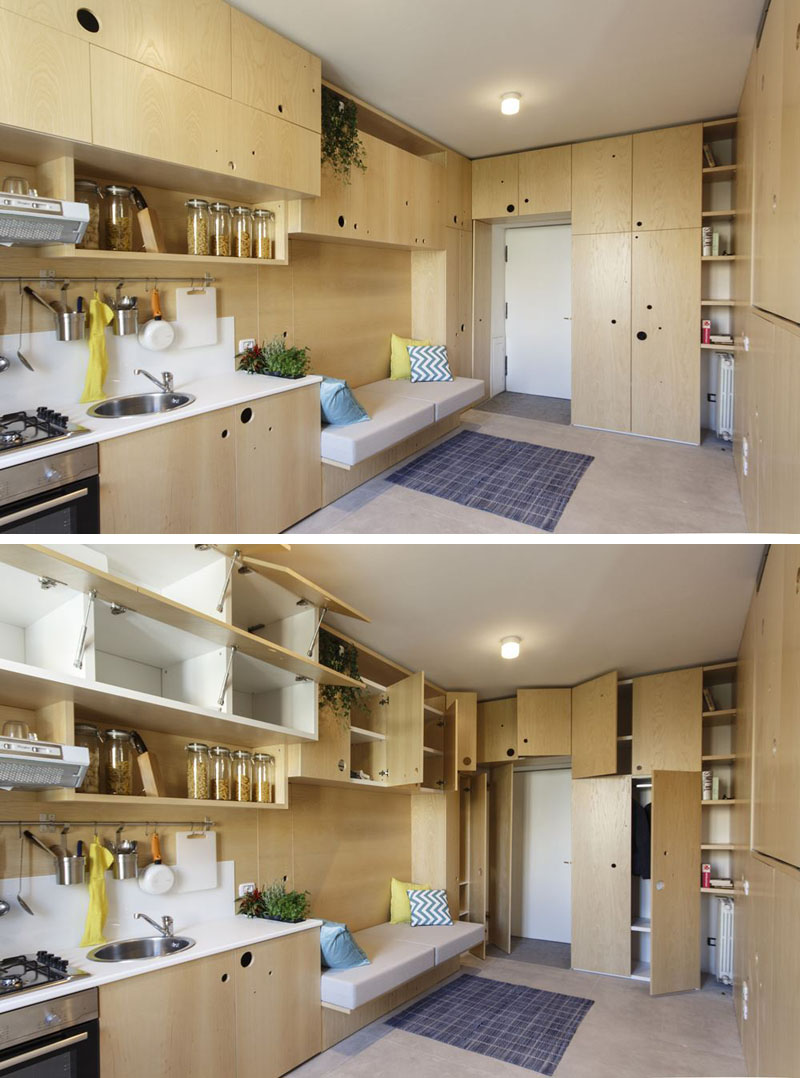 Small apartment in Milan open and closed cabinet doors