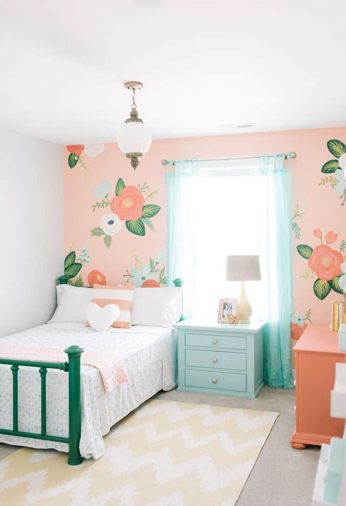 Traditional Modern Bedroom Designs for Girls With Flowers on Walls Modern Bedroom Designs for Girls