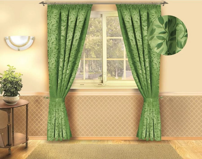 green curtains to peach wallpaper