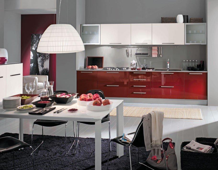 дизайн кухни бело бордового цвета фото примата имеются