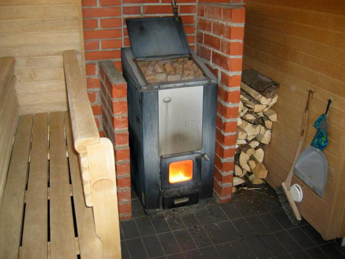 how to install a metal stove with a brick in a bath